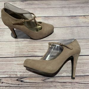 Guess nude suede t strap heels